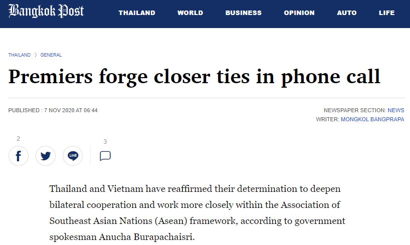 Cuộc điện đàm tạo dựng mối quan hệ chặt chẽ giữa Việt Nam, Thái Lan